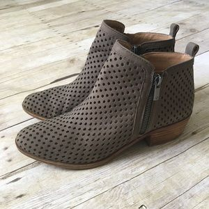 LUCKY BRAND Gray Perforated Zip Ankle Booties